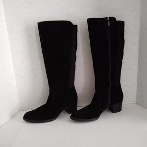 Paul Green Suede Black Knee High Boots - 8